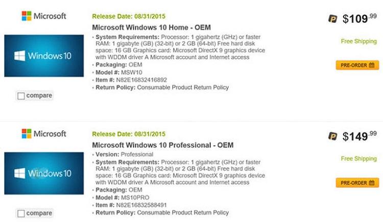 Ритейлеры раскрыли стоимость разных версий Windows 10
